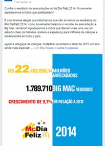 Publicação na fanpage do Hospital Erasto Gaertner sobre Mc Dia Feliz em Curitiba