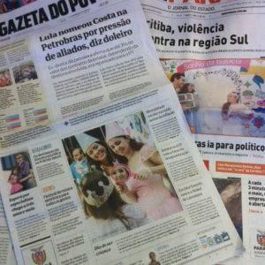 Jornais locais trazem na capa ação da BRMALLS em parceria com a Make-A-Wish® Foundation, que realiza sonhos de crianças portadoras de doenças graves